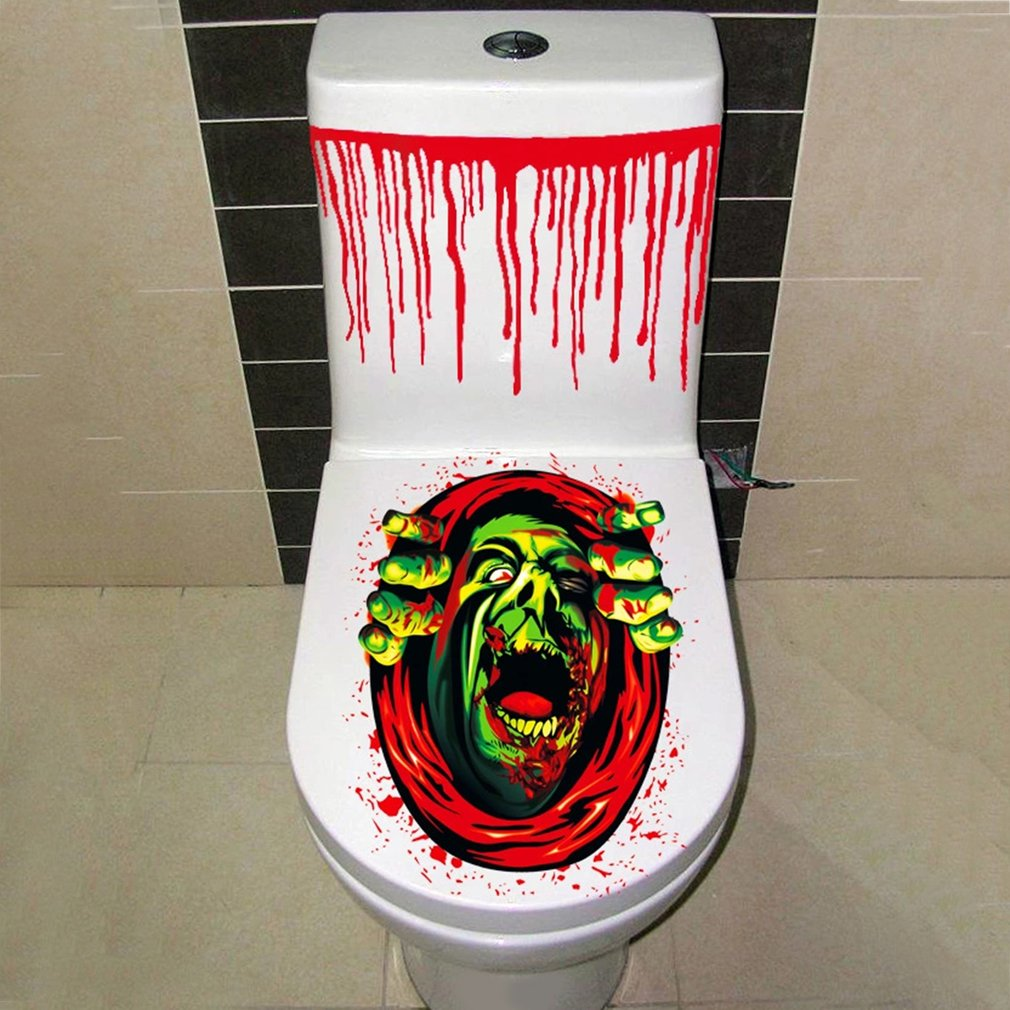 2017 halloween scary toilet seat grabber cover sticker fancy horror halloween costume party deco for children toy gifts hot sale in gags practical jokes