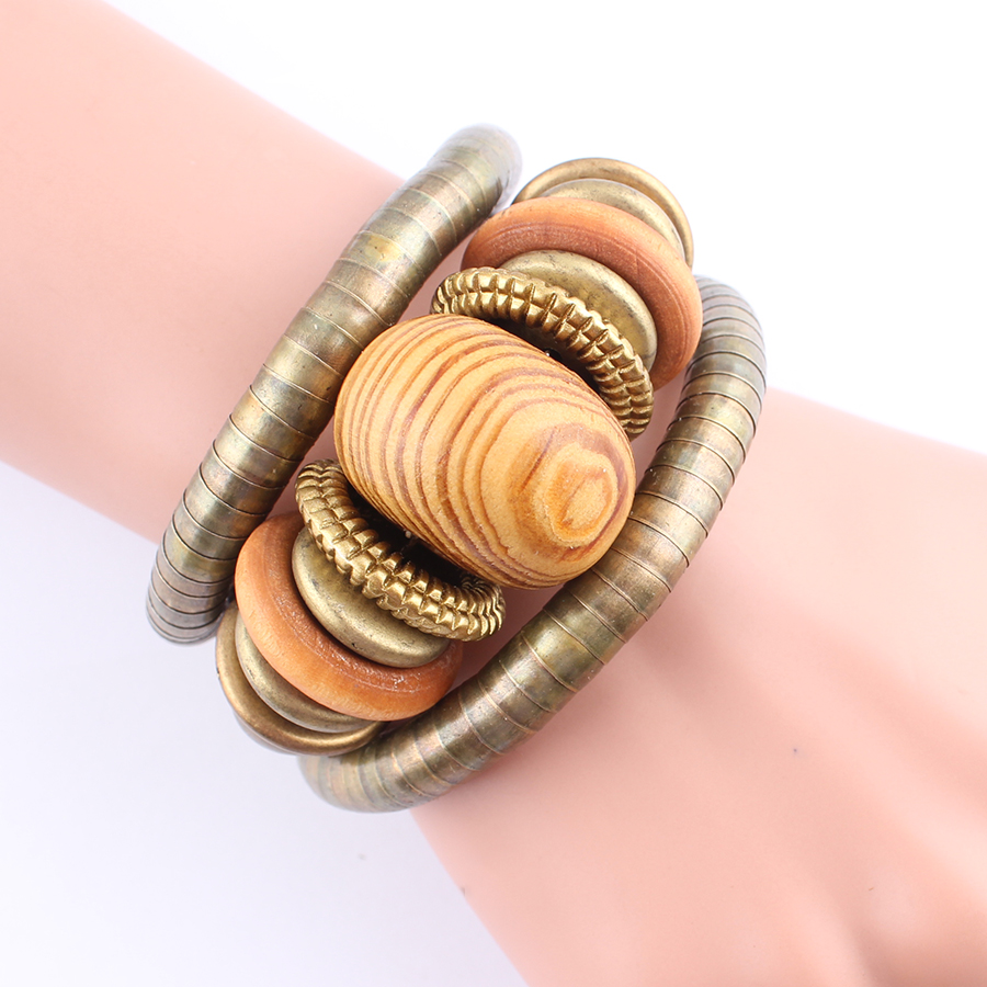 2017 Multilayer Vrouwelijke Armband Legering Snake Chain Hout Kralen - Mode-sieraden - Foto 6