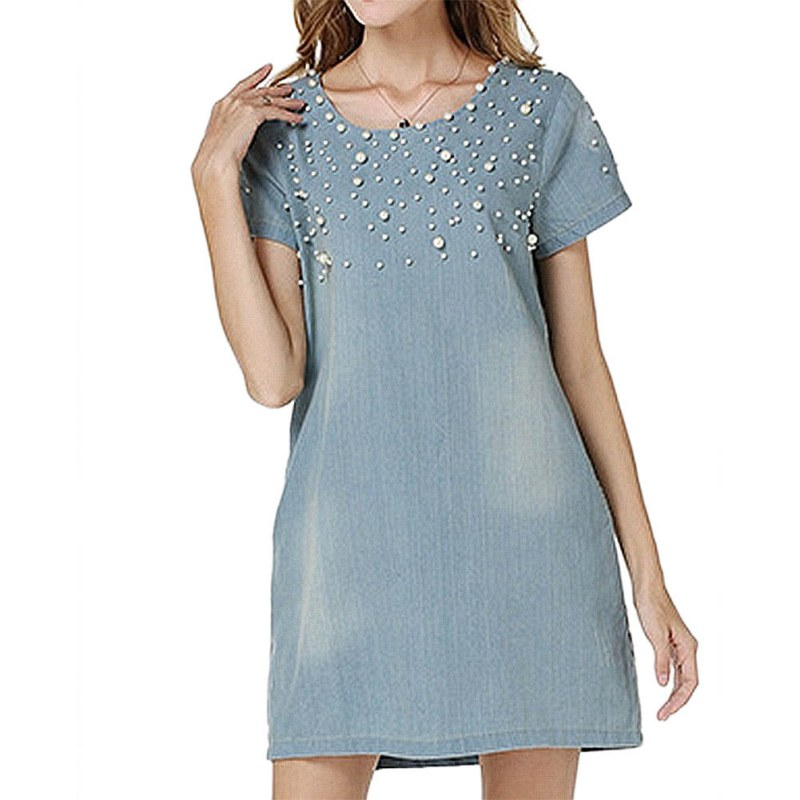 Retro azul delgado denim dress mujeres de manga corta washed jean loose zipper m