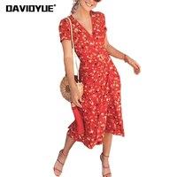 2018 Sexy V Neck Wrap Chiffon Dresses Summer Retro Cherry Flower Print Beach Dress Casual Puff