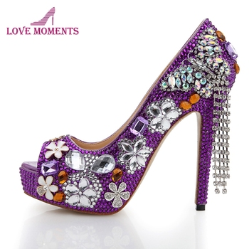 Purple Rhinestone Wedding Shoes 2016 Handmade Butterfly Tassel Bridal Dress Shoes Peep Toe High Heel Platform Party Prom Pumps