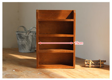 Retro Four-layer Solid Wood Storage Rack Household Sundries Sorting Rack Hook Hanging Rack