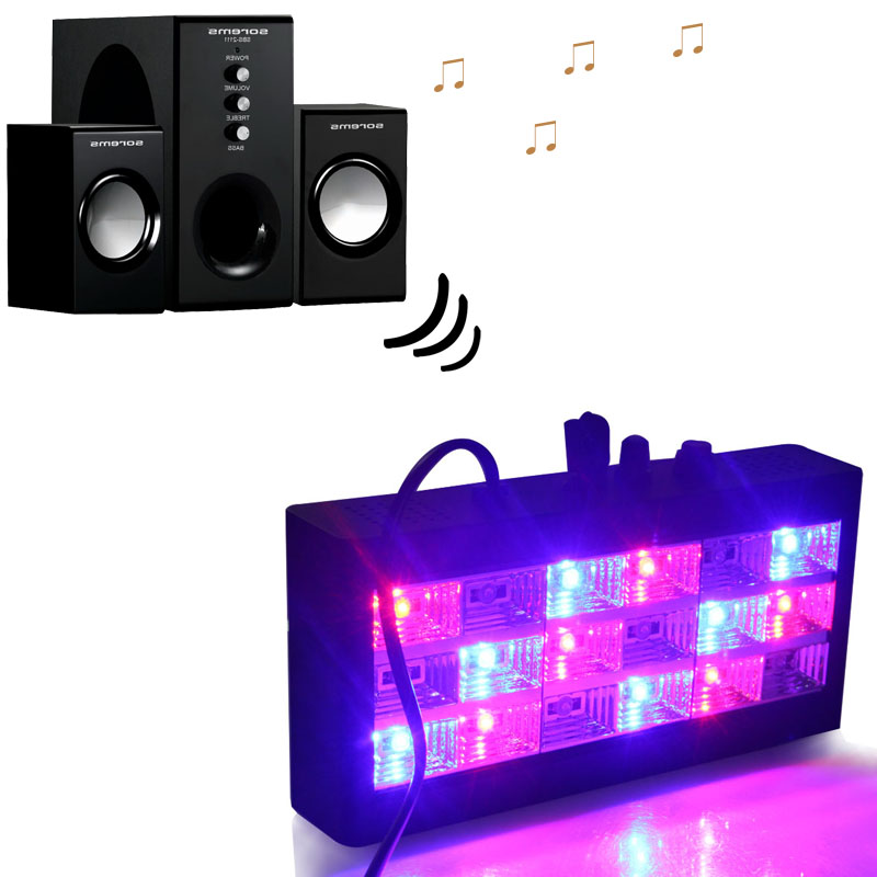 18 Leds Sound Control Led Colorful White Stage Light Disco Strobe Light Flash Light Club Stage