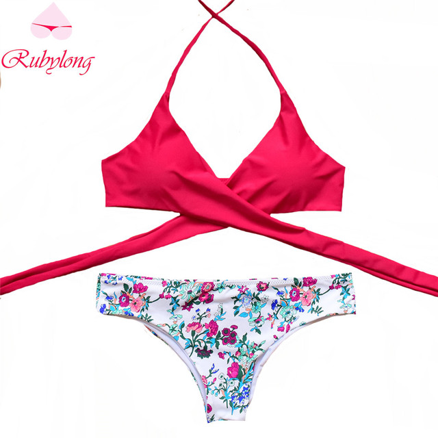 a6314a98ed Rubylong 2017 Sexy Cross Brazilian Bikinis Women Swimwear Swimsuit Push Up  Bikini Set Halter Top Beach Bathing Suits Swim Wear