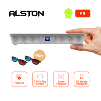 ALSTON Mini projector HD P9 220ANSI lumens DLP Android projector easy to carry home 1080P projector with battery