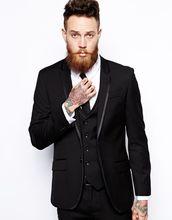 FOLOBE Terno Para Casamento Custom Made Black Men Slim Fit Suits Tuxedos Groomsman Suit Men s