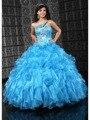 Gorgeous Un Hombro de Novia Sin Mangas Lace Up Flores Hechas A Mano del Organza Del vestido de Bola Azul Vestidos de Quinceañera OT1677