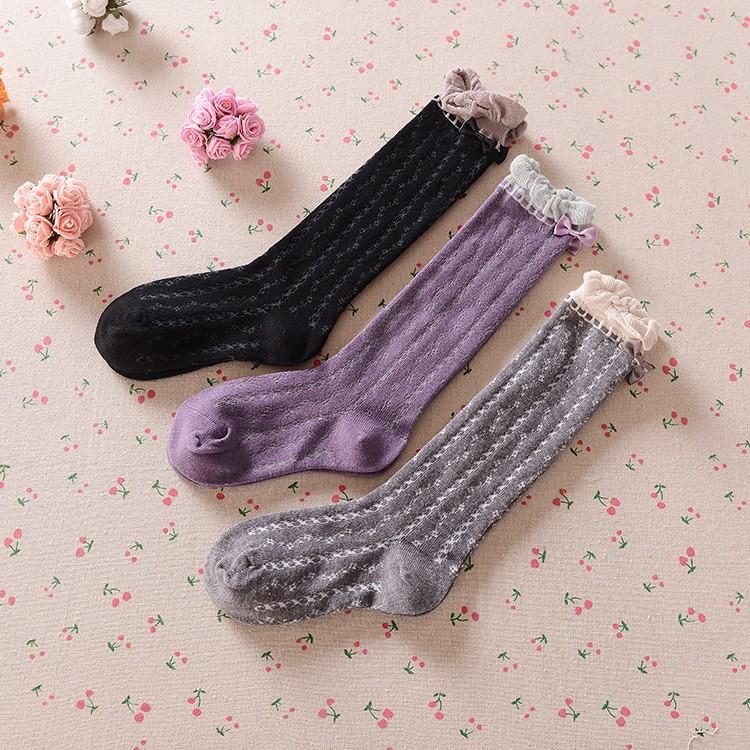 b408a83f0fe Girls Knee High Socks With Bowknot Kids School Boots Dress Socks ...
