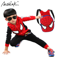 ActhInK New 2017 Kids Spiderman Tracksuit with School Bag Fashion Boys Spring Cotton Spiderman Sports Suit Girls Sports Set,C171