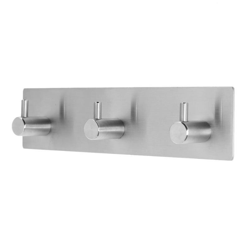 Self Adhesive Stainless Steel Hooks Wall Door Clothes Hats Hanger Kitchen Bathroom Rustproof Towel Hooks Storage Rack