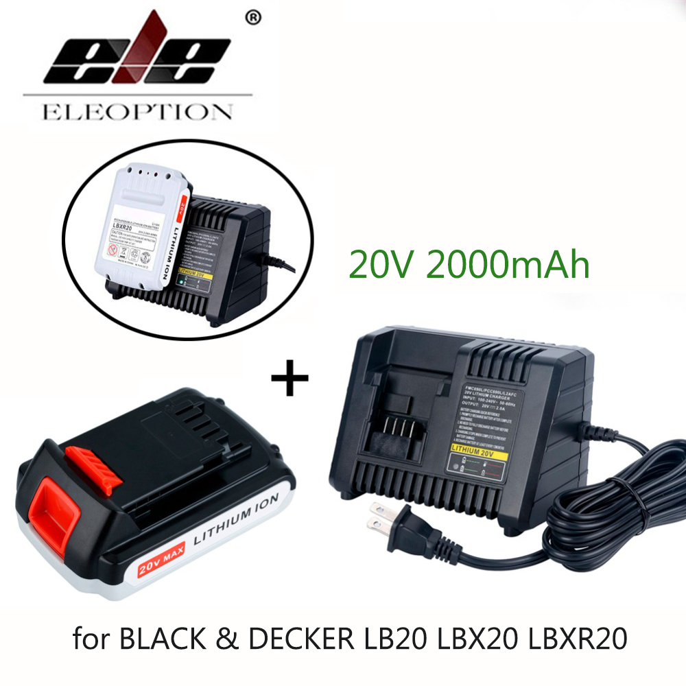 High Quality 20V Li-ion 2000mAh Rechargeable Power Tool Replacement Battery for BLACK & DECKER LB20 LBX20 LBXR20 + Charger стоимость