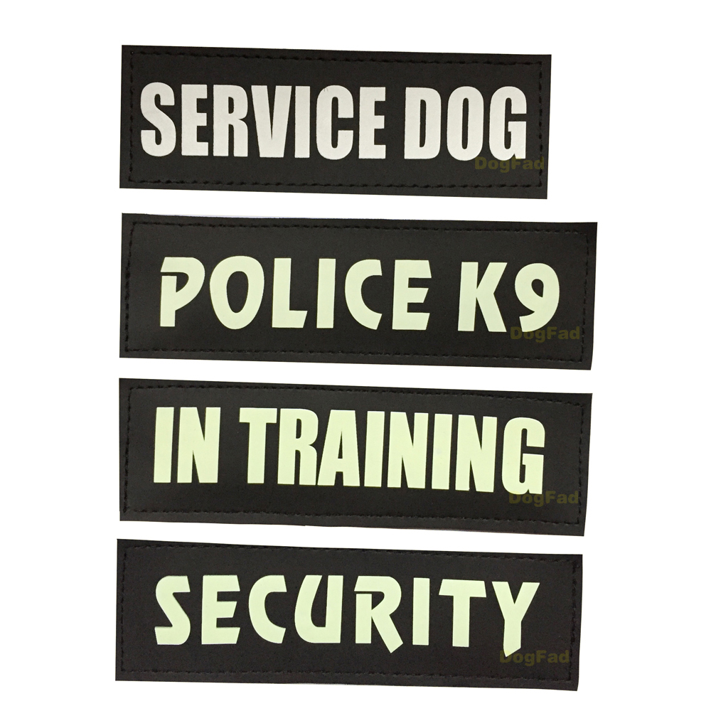 Veiligheid Politie K9 Zelf Lichtgevende Hond Harnas Label Sticker Night Fluorescentie Huisdier Harnas Vest Label Logo Service Hond Sticker