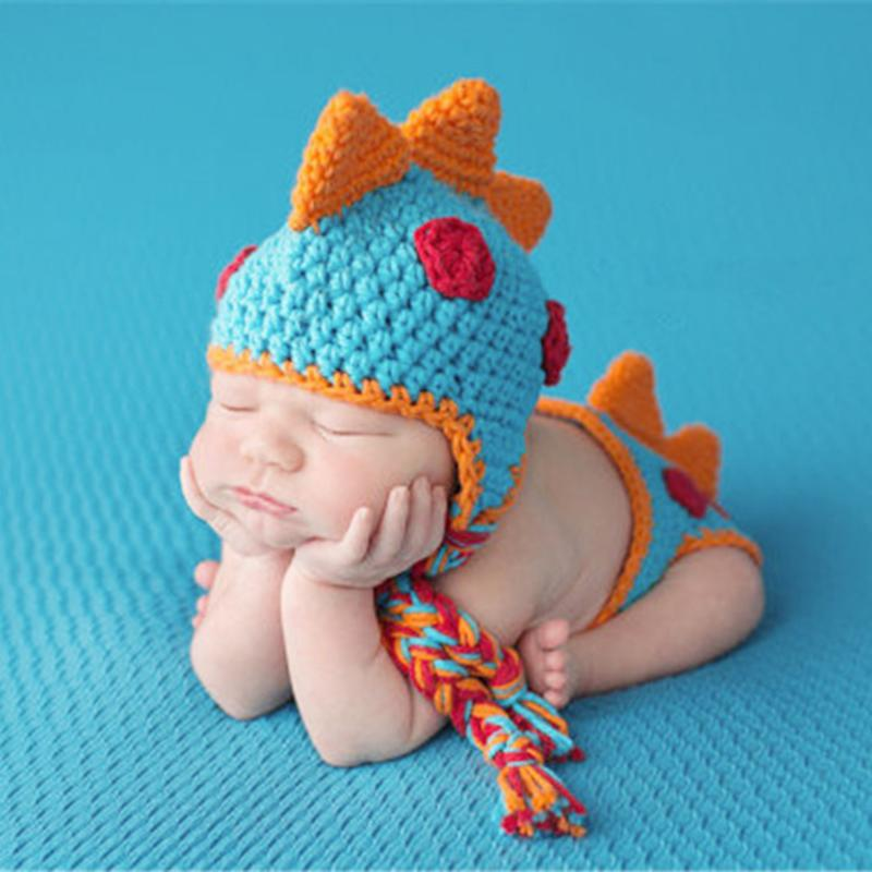 Crocheted Newborn Baby Dinosaur Outfit Newborn Photography Props Handmade Knitted Photo Prop Infant Photo Props Clothing Set s02 x030 newborn baby girls boys photography photo props children s clothing handmade wool unicorn pants hat
