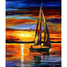 Beautiful landscape paintings sailing by the shore palette knife art on canvas wall pictures for living room