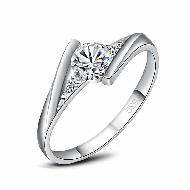 Fashion Micro Zirconia met Witte Crystal Vinger Ringen 925 sterling-zilver-sieraden voor Vrouwen Meisjes Party