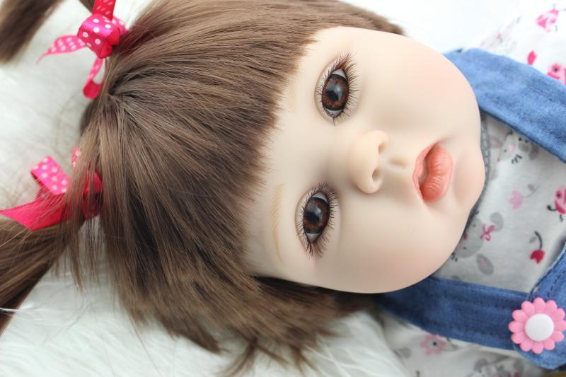 22 New arrival rooted brown fiber hair Handmade Silicone adora Lifelike Brinquedos Baby Bonecas Bebe Reborn
