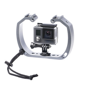 Image 3 - Aluminum Diving Photography Bracket Frame Mount Kit for GOPRO HERO 3+ 4 5 Session yi Action Camera Dive Fill Light Accessory