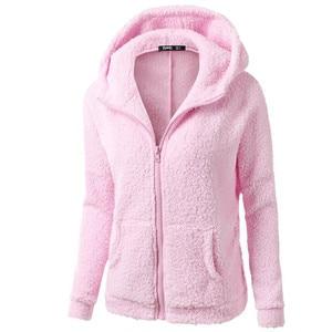 Women Winter Autumn Hoodies Hooded Coat Winter Warm Wool Zipper Cotton Hoodie Outwear Solid Casual Sweatshirt Female Plus Jacket