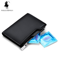 WILLIAMPOLO 2016 Genuine Leather Driving Lisence Mens Wallet Brand Wallets Short Purse POLO146