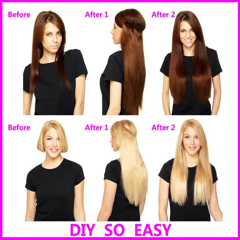 Hair Estension Straight White Girl Flip In Halo Extensions Synthetic