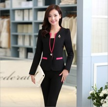 Ladies Business Casual Trousers Suit Women Pant Suits for Blazer+Pants 2 Piece Set Workwear Outfit Black White Blue Pink