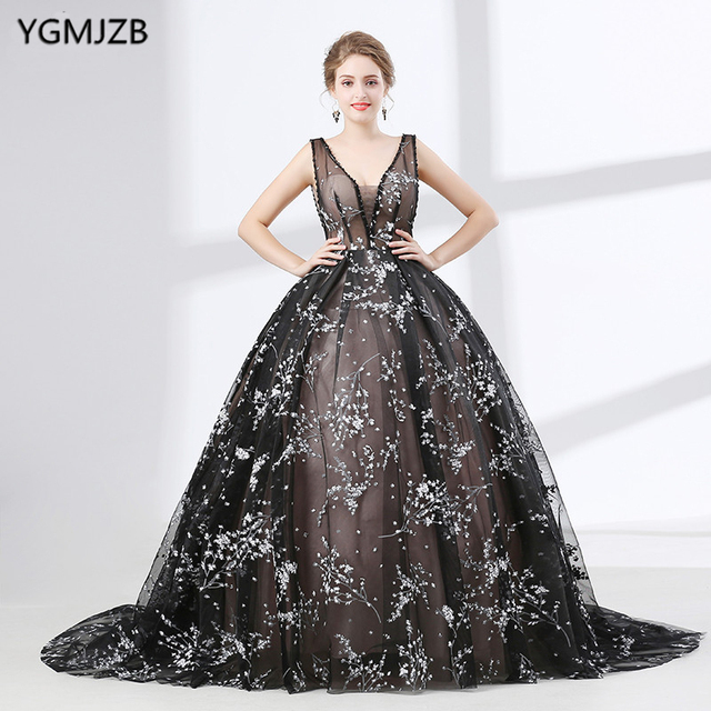 Vintage Black Saudi Arabic Evening Dress Long 2018 New Arrival Puffy Ball  Gown V Neck Lace Beaded Women Formal Evening Prom Gown 4c0de5508b6d