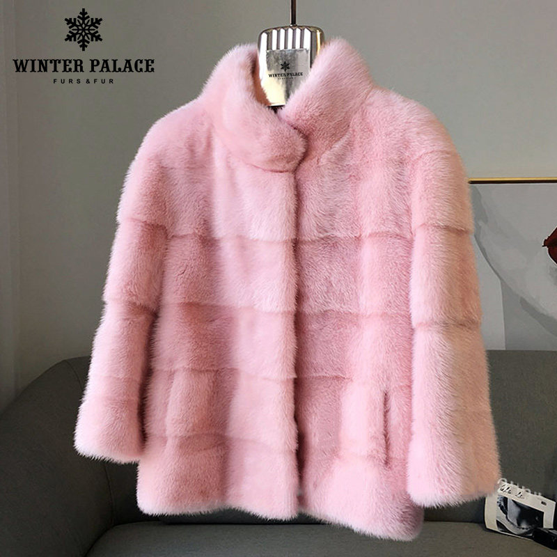 2018 Winter New Style  Fur Cat Natural Mlnk Stand Collar Good Quality Mlnk Fur Coat 60 Cm Long Coats Of Fur Fashion Slim Fur