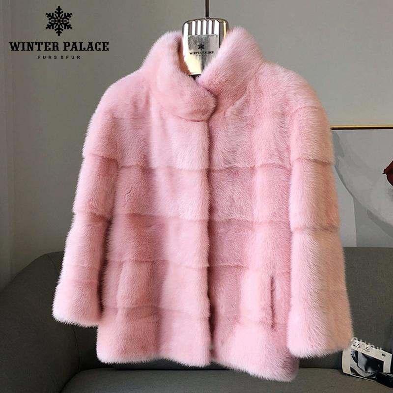 2018 hiver Nouveau style fourrure de chat naturel mlnk col montant bonne qualité mlnk fourrure manteau 60 cm long manteaux de fourrure De Mode mince Fourrure