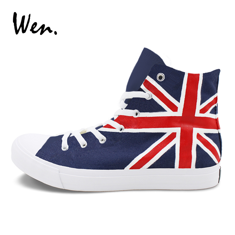 Wen UK Flag Graffiti Shoes Design Union Jack Flag Hand Painted Canvas Sneakers Men Women High Top Skateboarding Sports Shoes men women converse puerto rico flag hand painted artwork high top canvas shoes unique sneakers