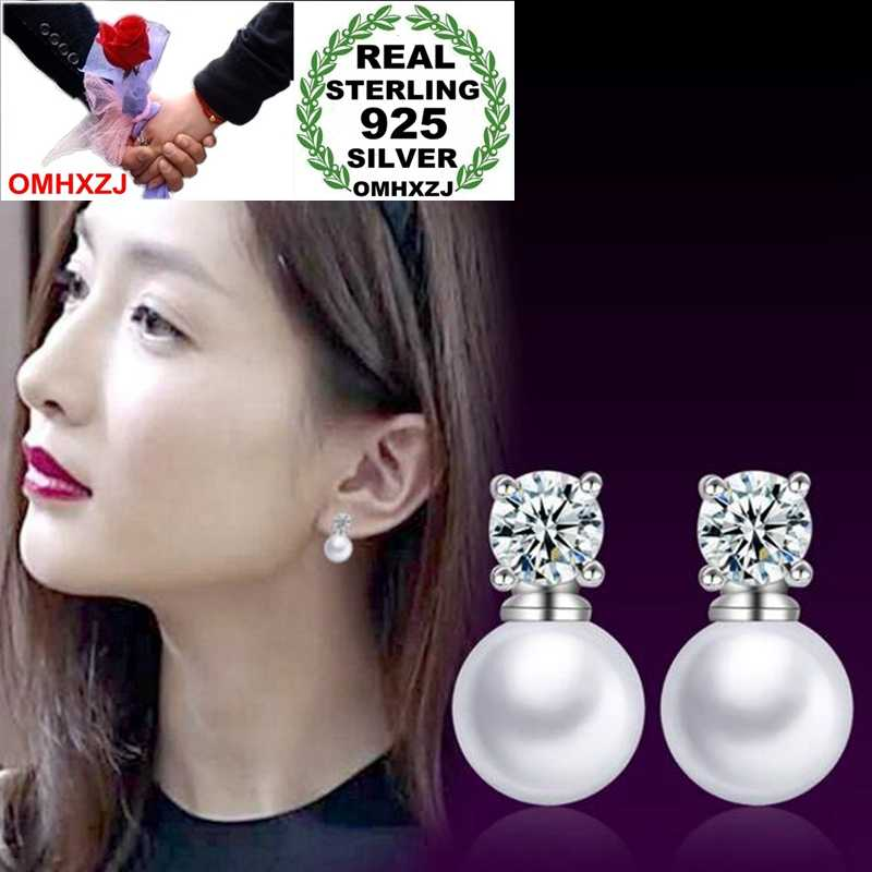OMHXZJ Wholesale Elegant Sweet Fashion joker For Woman Lady Gift Four Claws Zircon Pearl 925 Sterling Silver Stud Earrings YS316