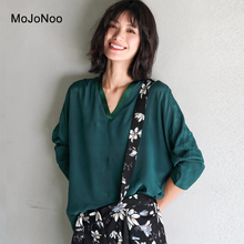 MOJONOO Autumn 2017 Sexy V Neck Blouses Long Sleeves For Women Shirts Tops Loose Casual Solid Designer Blouses High Quality New