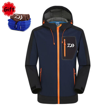 Daiwa Outdoor Fishing Clothing Men Keep Warm Spring Winter Waterproof Sunproof Fishing Coat Jersey Breathable with Free Towel