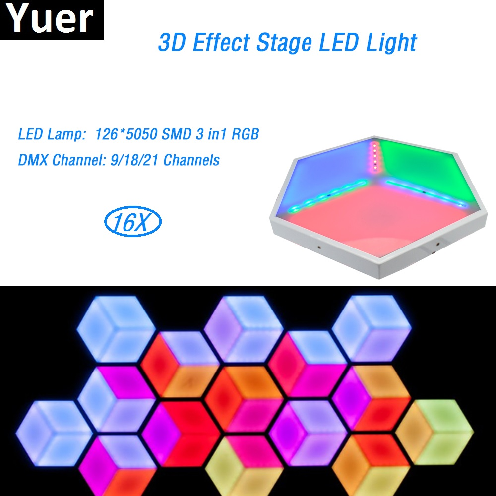 16PcsLot Free Shipping ADJ Professional 3D Vision Panels 126 Pcs 5050 SMD rgb 3in1 led Stage effect dj disco Lights With DMX512