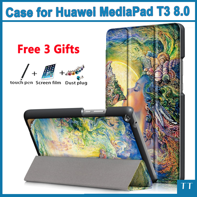 PU leather stand cover case for Huawei MediaPad T3 8.0 KOB-L09 KOB-W09 for 8'' Tablet PC for Honor Play Pad 2 8.0 + free 3 gifts folio slim cover case for huawei mediapad t3 7 0 bg2 w09 tablet for honor play pad 2 7 0 protective cover skin free gift