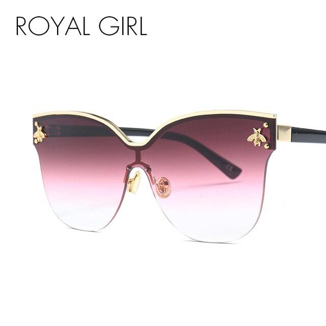adfa7966fe6b ROYAL GIRL Oversize Rimless Sunglasses Women 2018 Fashion Cat Eye Bee Sun  Glasses Female Retro Brand Designer Oculos UV400 ss735
