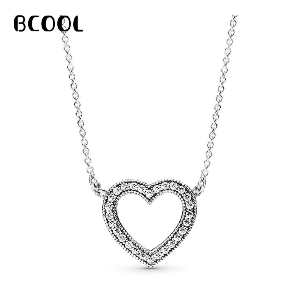 BCOOL 925 Silver Necklace Adjustable Necklace Female Charm Jewelry Zircon Elite Heart Necklace GiftBCOOL 925 Silver Necklace Adjustable Necklace Female Charm Jewelry Zircon Elite Heart Necklace Gift