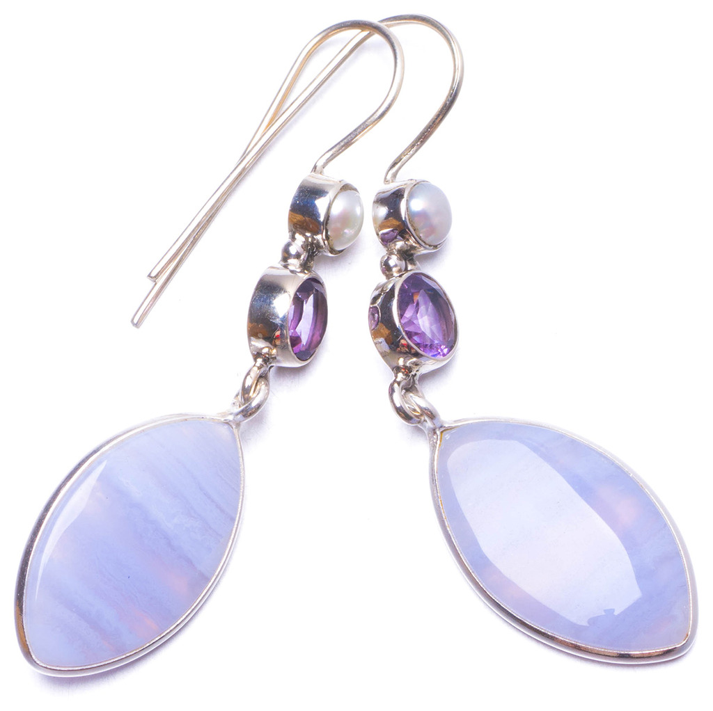 цена на Natural Blue Lace Agate,River Pearl and Amethyst Handmade Unique 925 Sterling Silver Earrings 2