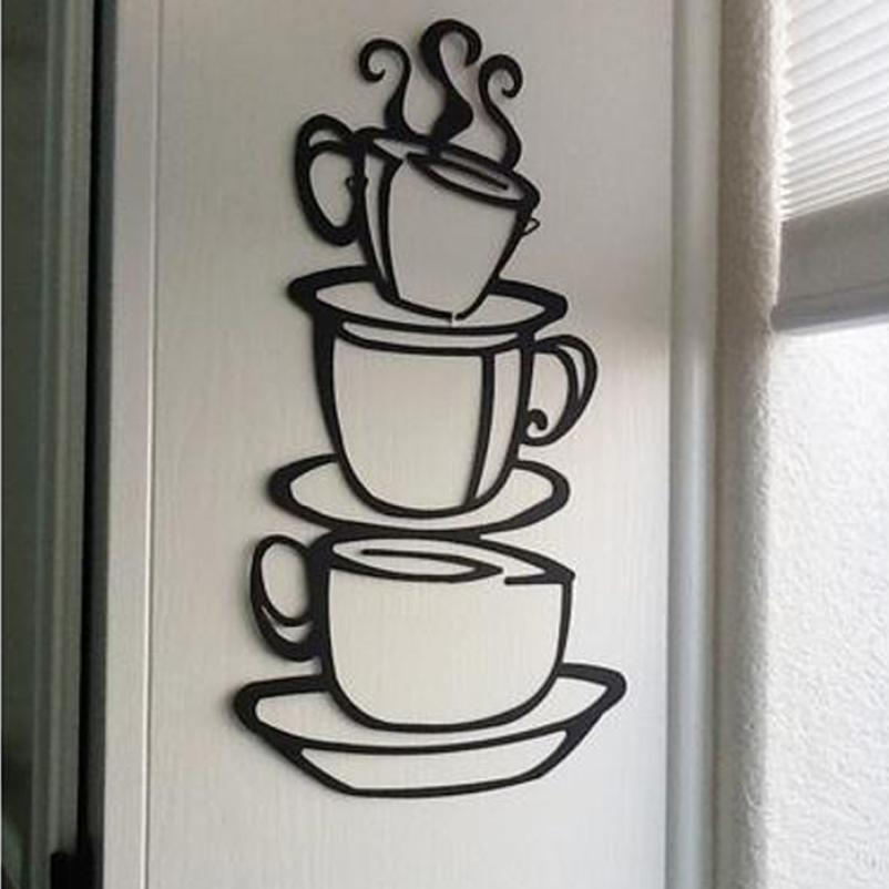 Personality 2017 Removable Diy Kitchen Decor Coffee House Cup Decals Vinyl Wall Sticker 420 China