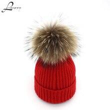 купить Lanxxy 2016 New Women Winter Hats Real Mink Fur Pom Poms Hat Girls Cotton Knitted Skullies Beanies Caps Fur Pompom Hats Bonnet по цене 565.64 рублей
