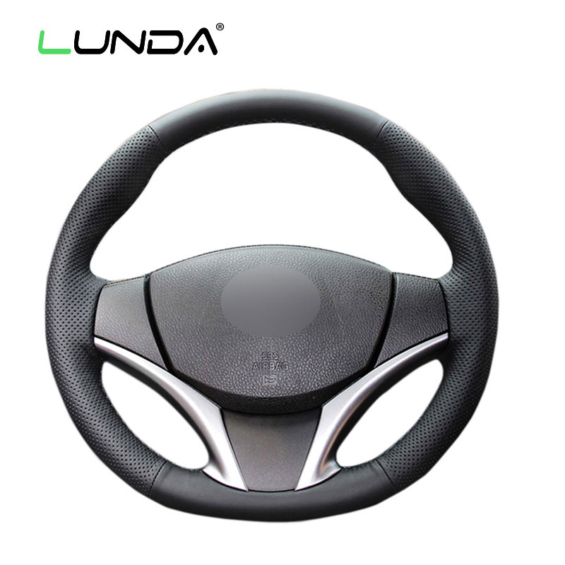 LUNDA Black Leather Hand-stitched Car Steering Wheel Cover for Toyota Yaris Vios 2014-2016