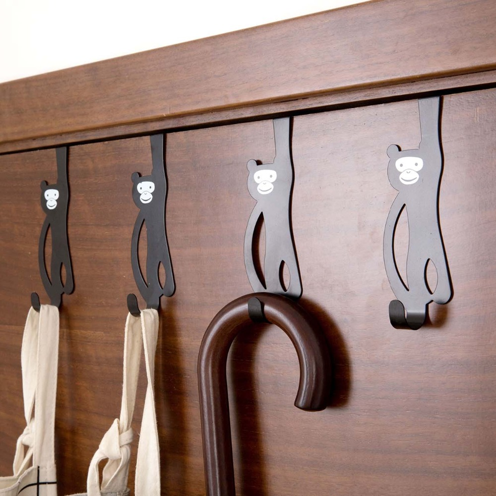 3Pcs Iron Animal Monkey Door Hook Kitchen Organizer Holder Clothes Hanger Storage Rack
