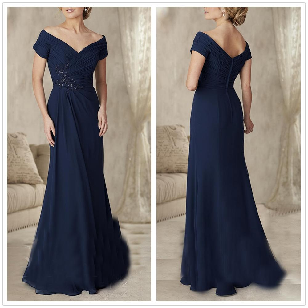 Vestidos De Novia 2019 Navy Blue Chiffon Ruffles Sheath Full-Length Beading Pleat Appliques Full-Length Mother Of The Bride