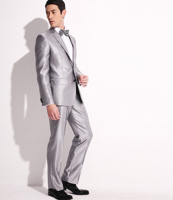 Custom Made Shiny Grey Tuxedos Men\'s Business Suits Groomsmen Mens ...