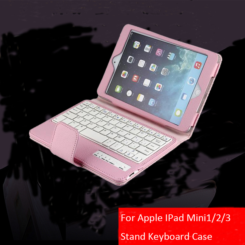 For Apple IPad Mini 4/3/2/1 Folding PU Leather Folio Case Cover & Stand Removable Wireless Bluetooth Keyboard