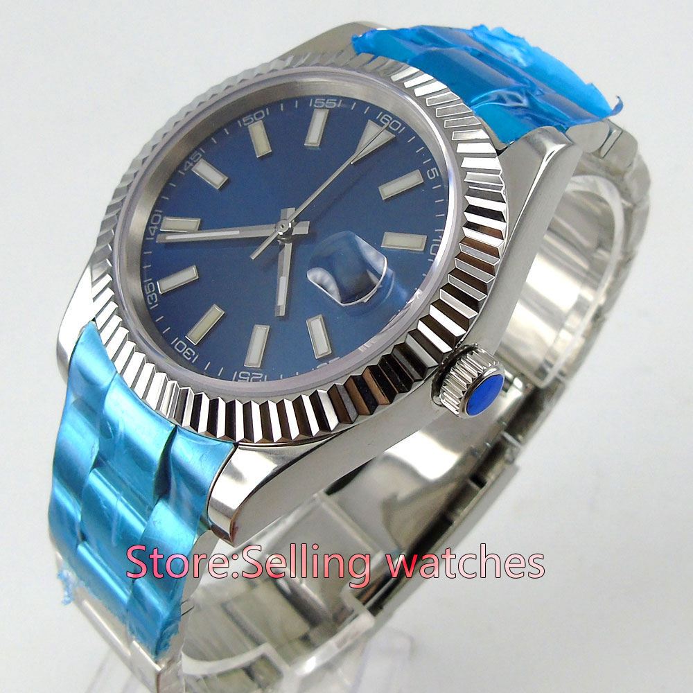 40mm parnis blue dial sapphire glass date automatic mens watch40mm parnis blue dial sapphire glass date automatic mens watch
