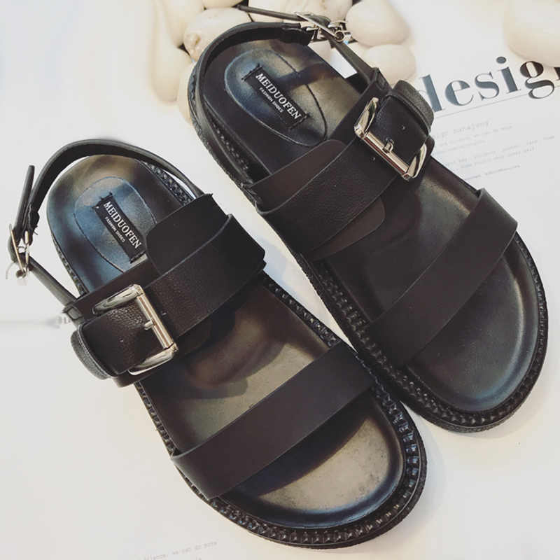 3c01157fe198 Summer Platform Shoes Fashion Buckle Strap Women Sandals Casual Platform  Sandals Black Pu Outdoor Womens Sandals