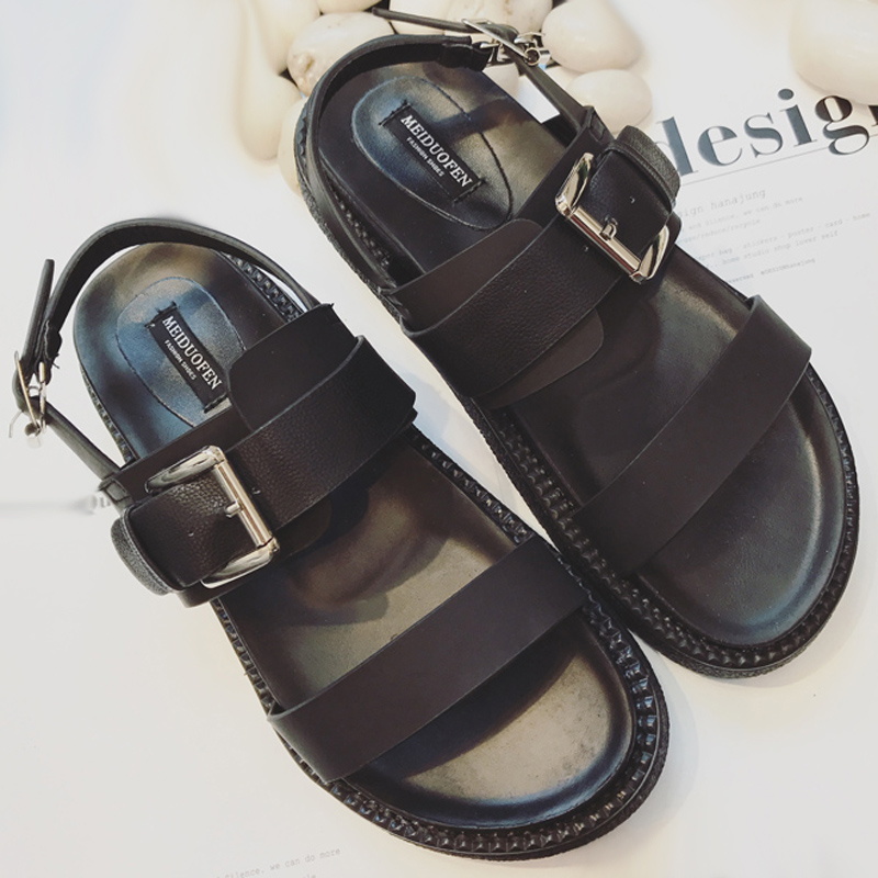 Summer Platform Shoes Fashion Buckle Strap Women Sandals Casual Platform Sandals Black Pu Outdoor Womens Sandals Punk Shoes pu line style buckle rhinestone nice womens sandals