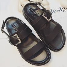 Summer Platform Shoes Fashion Buckle Strap Women Sandals Casual Black Pu Outdoor Womens Punk
