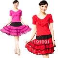 Conjunto de dança praça traje de dança Latina roupas de dança quadrados top-manga curta saia expansão