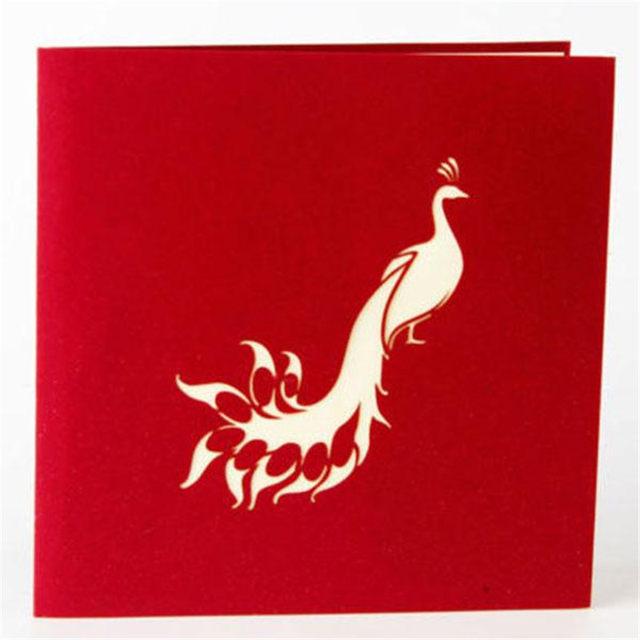Online Shop Handmade 3d Peacock Pop Up Cards Birthday Cake Happy